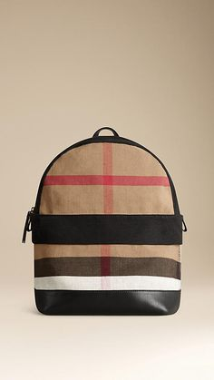 Black Canvas Check and Leather Backpack - Image 1