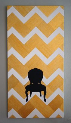 Why didn't I think of this first?   Chevron with Chair Painted on Canvas by FourthInLineKC on Etsy.