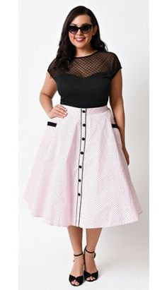 Hell Bunny Plus Size Retro Pin Up Pink Dot High Waist Martie Circle Swing Skirt