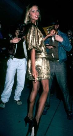 lauren hutton { gold minidress }, I wanna party in this number!