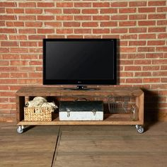 """Reclaimed Wood Media Stand - 59""""   dotandbo.com They want $1199.99 for this! It's probably easy enough to make, find some old wood, casters. and screws."""