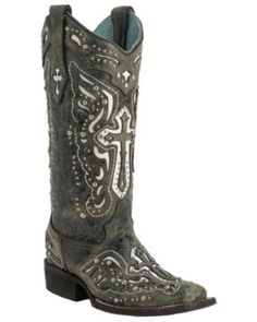 Corral® Women's Distressed Black w/White Inlayed Winged Cross & Silver Studs Double Welt Square Toe Western Boots