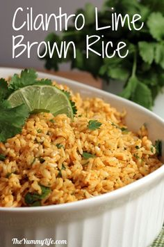 Cilantro Lime Basmati Brown Rice (for mexican tortilla bowls) -- too easy. Cook brown rice in veggie stock and drizzle over lime juice, spices, EVOO, garlic and sprinkle chopped cilantro, Yum. Freezer friendly too. Mexican Food Recipes, Vegetarian Recipes, Cooking Recipes, Healthy Recipes, Clean Eating, Healthy Eating, Basmati Brown Rice, Food Dishes, Side Dishes