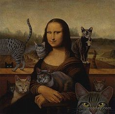 Cats with Mona Lisa or Leonardo da Vinci. Crazy Cat Lady, Crazy Cats, I Love Cats, Cool Cats, Mona Lisa Parody, Cat People, Here Kitty Kitty, Cat Art, Cats And Kittens