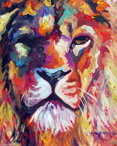 ABSTRACT ORIGINAL ART COLORFUL CANVAS PAINTING 16X20 LION MARC BROADWAY #canvaspaintinganimals