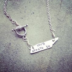 """unique """"you'll always be..."""" home sweet home to me, rocky top inspired Tennessee state tag necklace on Etsy, $27.00"""