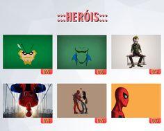 poster de filmes, poster de super heróis, caderno de super heróis