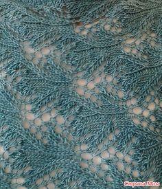 Вот такой интересный узорчик спицами мне попался. Схема ажурного узора для вязания спицами. Таким ажурным узором напоминающим листья можно связать пуловер или джемпер.