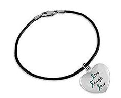 "Teal Live Laugh Love Heart Charm on Black Cord Bracelet for Cancer. Teal Live Laugh Love Heart Charm on Black Cord Bracelet for Cancer   One brand new Teal Live Laugh Love Heart Charm on Black Cord Bracelet Sterling silver plated This teal ribbon live laugh love heart charm on black cord bracelet features a 1 inch by 1 inch sterling silver plated teal heart charm. The charm reads ""Live, Laugh, Love"" with the L's as teal ribbons. The leather black cord bracelet is 8 inches with a lobster…"