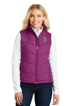 Ladies Puffy Vest in Berry can be personalized with your monogram!