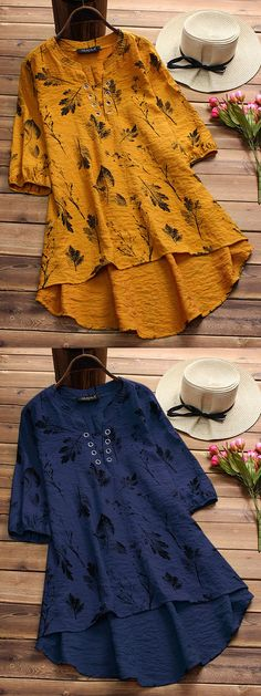 Vintage Leaves Print Irregular Hollow Half Sleeve Blouses For Women. Gracila brand from NEWCHIC. US size 8 to 20.