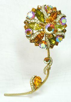 Oversized Vintage Aurora Borealis Rhinestone Flower Brooch