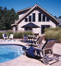 Poolside log home