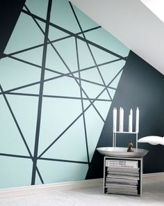 Creating an accent wall can be more than just adding paint color. See five inspiring accent wall ideas that can totally transform any room in your home. Modern wall paint design home decor idea Diy Wall Painting, Creative Wall Painting, Painting Accent Walls, House Painting, Painted Wall Art, Paint Walls, Light Painting, Diy Wand, Wall Patterns