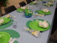 Ducks and frogs at the pond theme Baby shower. Place mats cut from construction paper, lilies folded from paper towels. Each lily has a gummy frog candy in it. The favors are napkin diapers dipped in wax with a chocolate frog and chocolate duck inside. THIS is how I did it: https://www.youtube.com/watch?v=ol5UDxPoyM4 Square paper napkins work as well, light pink would be pretty for a girl!