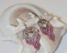 psy retro hippie gypsy fairy PINK MACRAME EARRINGS with silver pendant and silver Beads