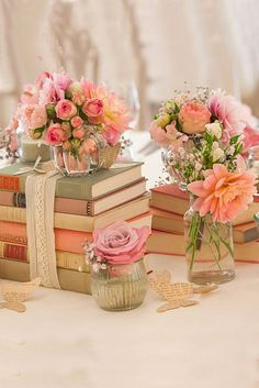 Shabby Chic Vintage Wedding Decor | Spring Wedding | Floral and Book Centerpieces
