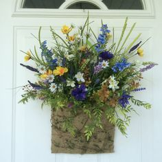 Summer Wreath-Door Basket-Lavendar Basket-Spring Door WreathCountry Door Basket-Rustic Wreath-Wildflower Basket-Cottage Floral Basket