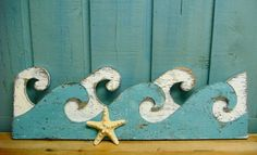 Weathered White & Turquoise Ocean Sea Waves Sign by CastawaysHall, $49.00