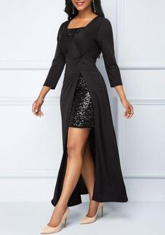Sequin Embellished Mini Dress and Side Slit Black Dress Stylish Dresses, Women's Fashion Dresses, Elegant Dresses, Sexy Dresses, Evening Dresses, Casual Dresses, Tight Dresses, Short Dresses, Latest Dress For Women