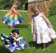 I have received a few requests to explain how to a simple tiered twirl skirt. The patchwork skirt uses the same method, but here are the dis. Sewing Kids Clothes, Sewing For Kids, Diy Clothes, Skirt Mini, Twirl Skirt, Chiffon Skirt, Ruffle Skirt, Patchwork Baby, Patchwork Dress