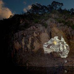 Nicole Welch  Apparitions #6 - Projection 'Le Kangaroo me charge, 1869' 2014  pigment ink, face-mounted 80 x 80cm edition of 6 'Le Kangaroo me charge' engraving from Australie : voyage autour de monde / par le Comte de Beauvoir 1869
