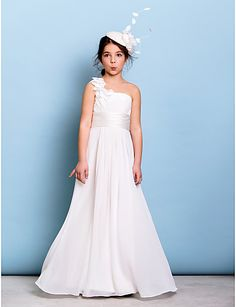 f857718ced   71.99  A-Line One Shoulder Floor Length Chiffon Junior Bridesmaid Dress  with Sash   Ribbon   Criss Cross   Ruched by LAN TING BRIDE®   Natural