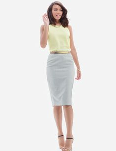 The Limited   Summer 2015 pencil skirt, vitamin C yellow tank