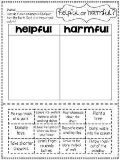 Earth Day sorting activity....helpful/harmful