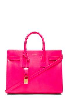 Saint Laurent|Small Sac De Jour Carryall Bag in Neon Pink