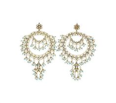 Pair of Indian diamond and seed pearl ear pendants