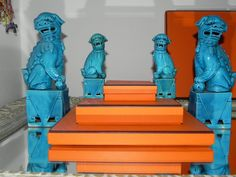 turquoise foo dogs