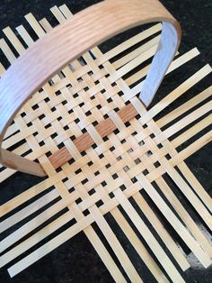 Basket weaving base - my first flat reed basket. From a kit from V. I. Reed.
