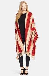 Lauren Ralph Lauren Stripe Fringe Hem Poncho (Plus Size)