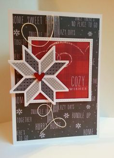 handmade card fromGingham Girl: Cozy Snowflake Sketch ... quilt block die cut star ... grays, red ad white ... patterned papers ... great card!