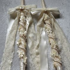 Wedding Lambathes in Ivory Ornaments and Date Decorated with Lace and Personalized with Monograms Orthodox Wedding Candles