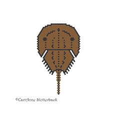 Here is one of my original freeform peyote stitch patterns of the Horseshoe Crab. The finished work (using 11/0 Delica beads) measures 2.1 x 3.24 & can be used as a pendant, broach, or sewn onto your favorite accessory.  ►This is a digital PATTERN in PDF format only - NOT a finished product. The file will be directly downloadable through Etsy.  The PDF file includes: • a computer generated illustration of the finished piece • a bead chart with the Delica numbers, names and bead count...