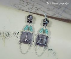 We Will Always Have Paris - Vintage Assemblage French Inspired Gypsy Boho Earrings