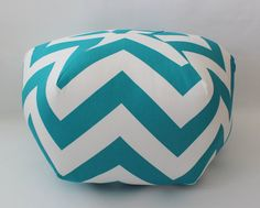 "24"" Ottoman Pouf Floor Pillow Turquoise Large Zig Zag Chevron Locker Lookz, Baby Room Themes, Pouf Ottoman, Floor Pillows, Fabric Crafts, Color Schemes, Chevron, Zig Zag, Turquoise"
