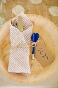 Love this placesetting and napkin fold! Photo by Katelyn James Photography, see more at http://theeverylastdetail.com/rustic-eclectic-backyard-maryland-wedding/