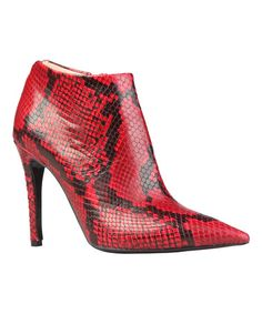 Red Georgette Leather Ankle Bootie #zulily #zulilyfinds