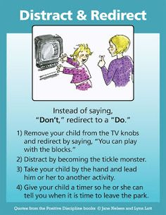 A Positive Discipline Tool card that describes several ways to distract and redirect your children to avoid power struggles and temper tantrums.