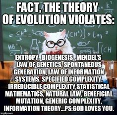 A Chemistry Cat meme. Caption your own images or memes with our Meme Generator. Chemistry Cat, Information Theory, Theory Of Evolution, Evolution Science, Christian Apologetics, Bible Truth, Faith Bible, God Loves You, Jesus Christ