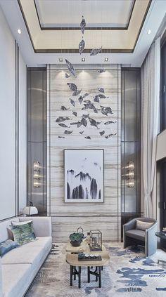 High Ceiling Living Room Modern, Home Living Room, Living Room Designs, Living Room Decor, American Interior, Modern Interior Design, Luxury Interior, Interior Design Inspiration, Design Ideas