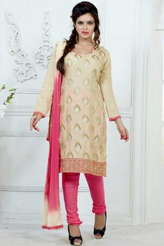 Beige Cotton and jacquard Churidar Suit With Dupatta  Beige Cotton and Jacquard, semi stictch churidar suit. Allover embroidered with embroidered, resham, zari and stone work.  Asymmetrical neck, Below knee length, full sleeves kameez.   Pink cotton churidar.   Beige and pink chiffon dupatta with lace border with work.  http://www.andaazfashion.co.uk/beige-cotton-and-jacquard-churidar-suit-with-dupatta-dmv13715.html