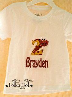 2nd birthday elmo shirt with elmo appliquéd on t-shirt name can be monogrammed $18.00