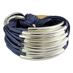 Gillian Julius Large Multi Tube Bracelet, Silver | Denim Cord. Multi strand bracelet consisting of 30 waxed cotton cords. Each cord of bracelet features a silver tube. $319