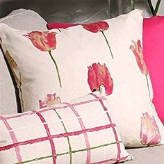 The Pillow Decor decorative throw pillow collection includes the Albany Tulips Throw Pillow Floral Throws, Floral Throw Pillows, Decorative Throw Pillows, Tulips, Print Design, Bloom, Spring Decorations, Fabric, Pink