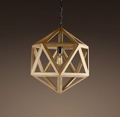 Wood Polyhedron Pendant Small | Ceiling | Restoration Hardware - - pendant lighting - - by Restoration Hardware