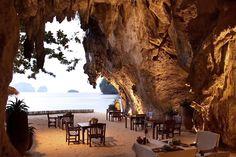 KRABI | In-cave dining at Rayavadee beach resort, Thailand